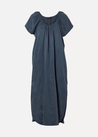 HATCH The Goddess Gathered Cupro Midi Dress in Navy