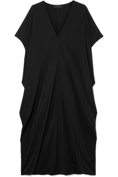 HATCH The Slouch Crepe De Chine Midi Dress in Black
