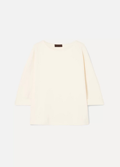 HATCH Stretch-Crepe Top in Ivory