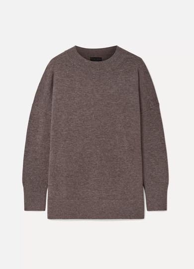 HATCH The Clementine Merino Wool And Cashmere-Blend Sweater in Mushroom