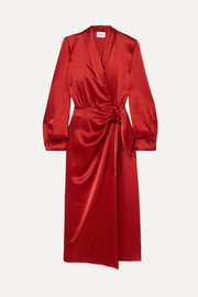 Ezra satin wrap dress