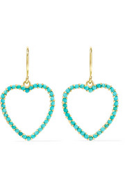 Jennifer Meyer Heart 18-karat gold turquoise earrings