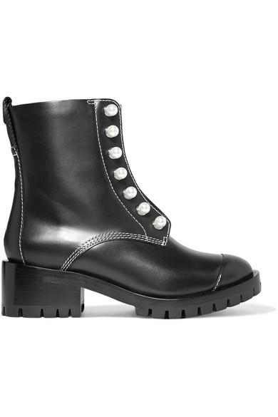 Lug Sole Zipper Leder verzierte Ankle Boots aus Leder Zipper e495d1