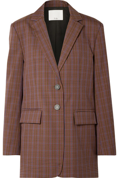 Oversized Checked Woven Blazer, Brown