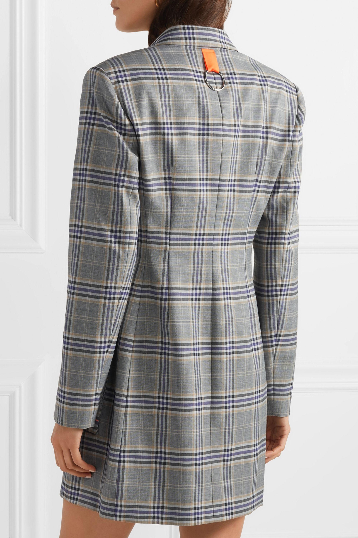 Tibi Double-breasted plaid crepe mini dress