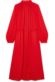 Gathered crepe midi dress