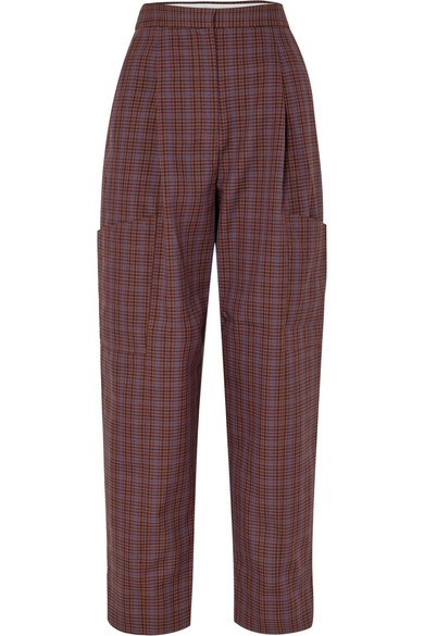 Tibi Clothing CHECKED WOVEN CARGO PANTS