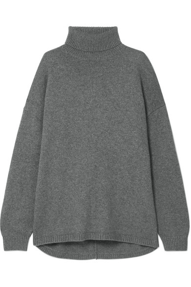 Oversized Cashmere Turtleneck Sweater, Dark Heather Grey