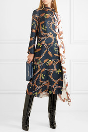 Tibi Paneled printed silk-twill dress