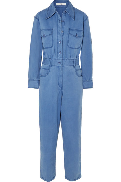 TIBI Washed Cotton-Blend Twill Jumpsuit in Blue