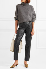 Tibi Leather straight-leg pants