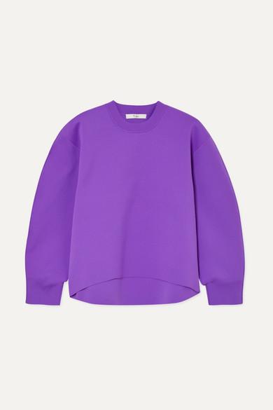 TIBI Tech Poly Sculpted Sleeve Sweatshirt  in Purple