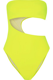 Stella McCartney Neon cutout bandeau swimsuit
