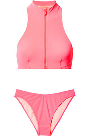 Stella McCartney Zip-embellished neon bikini