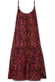 Stella McCartney Leopard-print cotton and silk-blend maxi dress