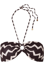 Stella McCartney Drawstring Tunnels printed bandeau bikini top