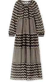 Stella McCartney Drawstring Tunnels printed cotton and silk-blend maxi dress