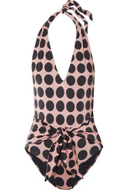 Stella McCartney Ballet Dots tie-front printed halterneck swimsuit