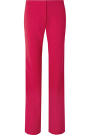 Carolina Herrera Satin-trimmed stretch-wool straight-leg pants