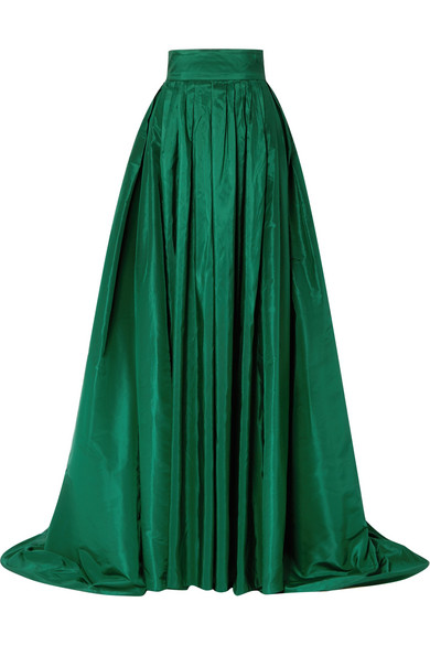 Carolina Herrera - Pleated Silk-satin Maxi Skirt - Emerald