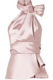 Bow-embellished satin-twill halterneck top