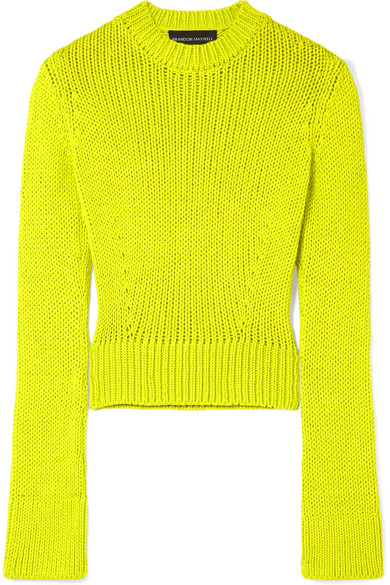 Brandon Maxwell CROPPED WOOL-BLEND SWEATER