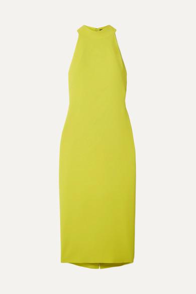 BRANDON MAXWELL Sleeveless Halter-Neck Stretch-Crepe Mid-Calf Sheath Dress in Yellow