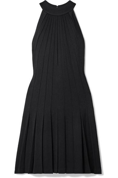 BRANDON MAXWELL Pleated Pebble Crepe Halter Dress in Black