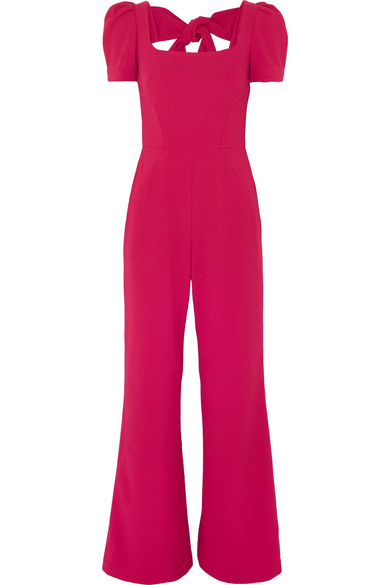 REBECCA VALLANCE POPPY BOW-DETAILED CREPE JUMPSUIT