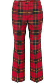 Cropped tartan wool straight-leg pants
