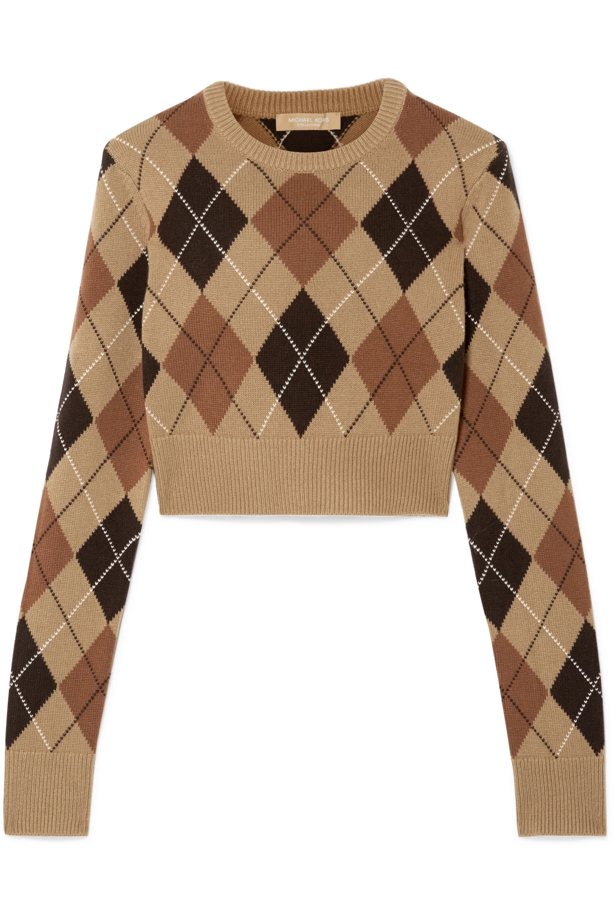 Michael Kors Collection Cropped argyle cashmere sweater