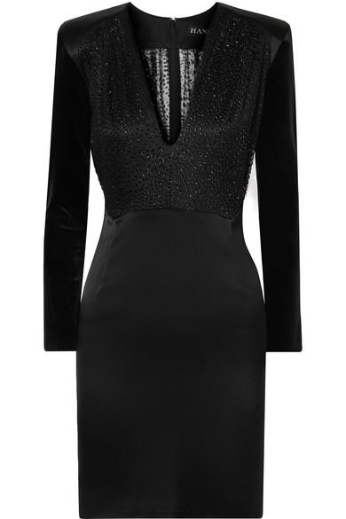 HANEY Stam Fil Coupé Mesh, Velvet And Satin Mini Dress in Black