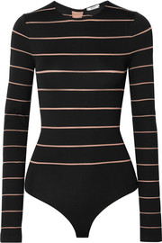 Grace lace-up striped stretch-jersey thong bodysuit