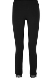 Samantha lace-trimmed stretch-jersey leggings