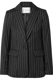 Pinstriped wool-blend blazer