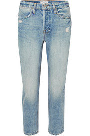 FRAME Pegged distressed high-rise straight-leg jeans