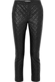 Cropped quilted leather straight-leg pants