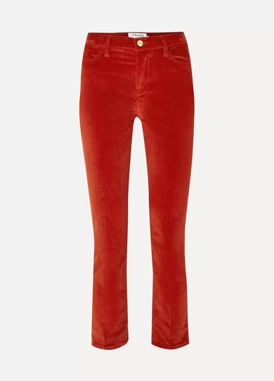 FRAME LE HIGH COTTON-BLEND CORDUROY STRAIGHT-LEG PANTS