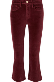 FRAME Le Crop Mini Boot cotton-blend velvet flared pants