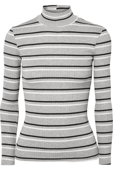 Striped Rib-Knit Mock-Turtleneck Top - Gray Size L