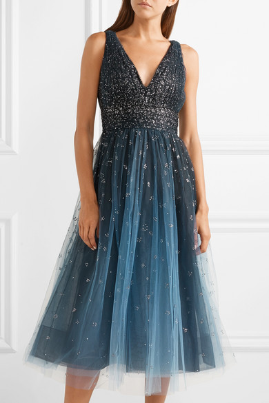 fc1bdd16 Marchesa Notte   Embellished ombré tulle midi dress   NET-A-PORTER.COM