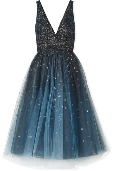 MARCHESA NOTTE EMBELLISHED OMBRÉ TULLE GOWN
