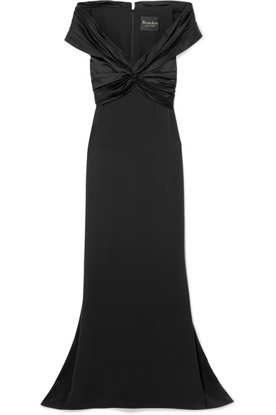REEM ACRA Off-The-Shoulder Knotted Silk-Crepe And Satin Gown in Black