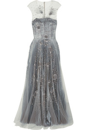 Embellished tulle and silk-blend lamé gown