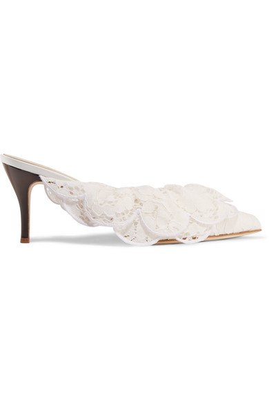 BROTHER VELLIES Stell Ruffled Corded Lace Mules in White