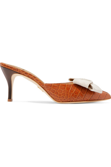 BROTHER VELLIES Stell Bow-Embellished Croc-Effect Leather Mules in Tan