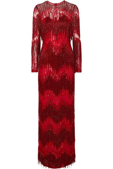 Naeem Khan - Embellished Tulle Gown - Red