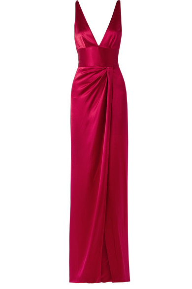 Naeem Khan - Wrap-effect Silk-satin Gown - Red