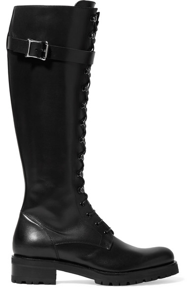 RUPERT SANDERSON Duncan Lace-Up Knee-High Leather Boots in Black
