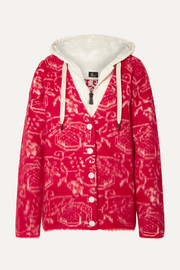 Moncler Genius Grenoble hooded wool-blend fleece-jacquard and quilted shell cardigan